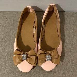 Blush Pink & Tan Ballet Flats